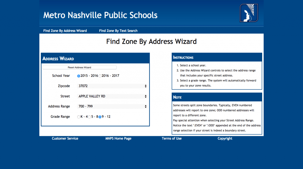Nashville Public school zones